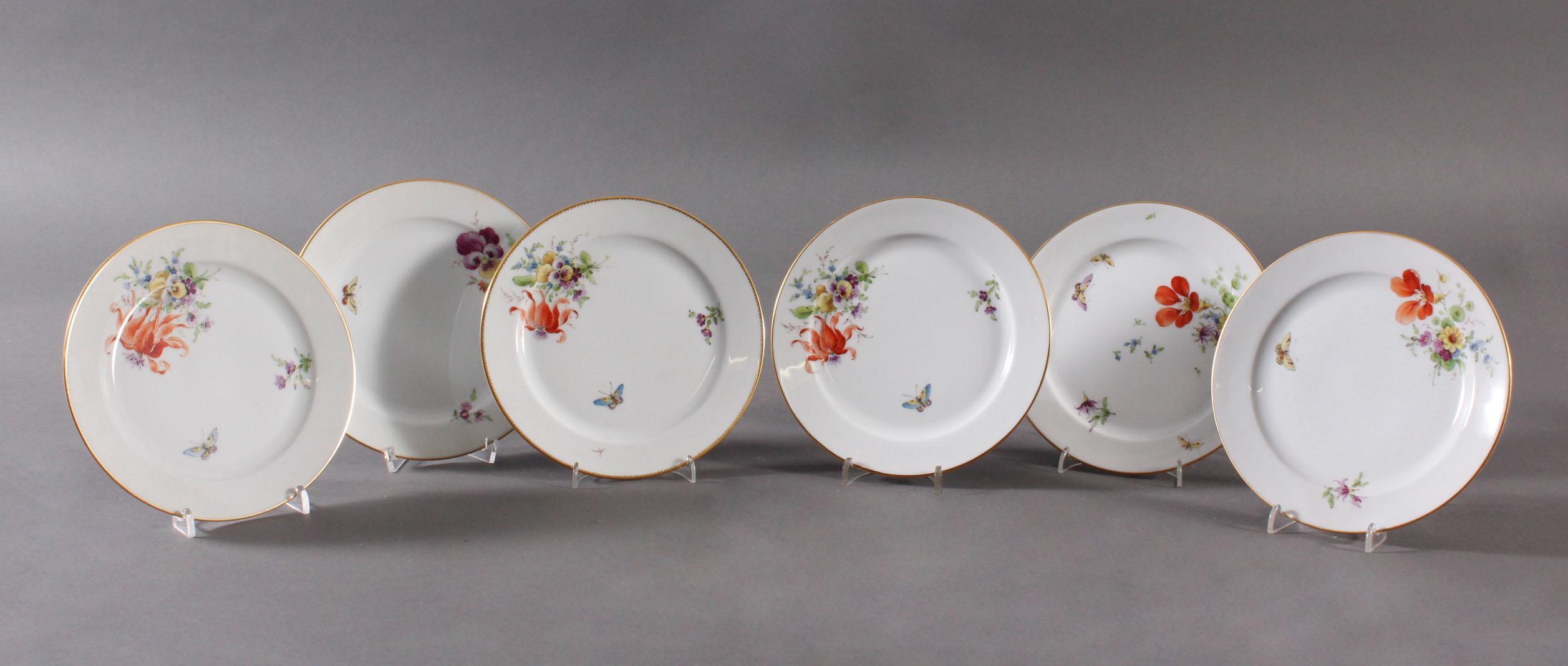 6 Zierteller, Höchster Porzellanmanufaktur, signiert Kurt Schröder