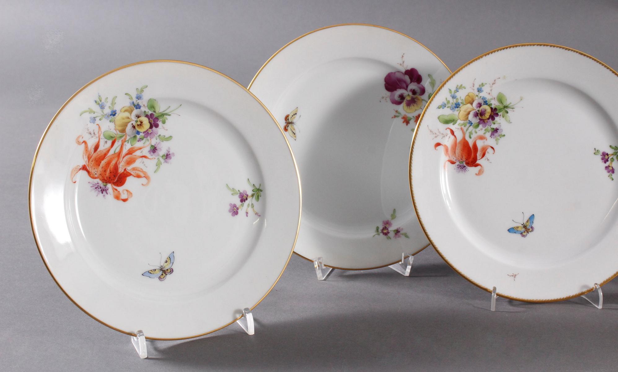 6 Zierteller, Höchster Porzellanmanufaktur, signiert Kurt Schröder-2