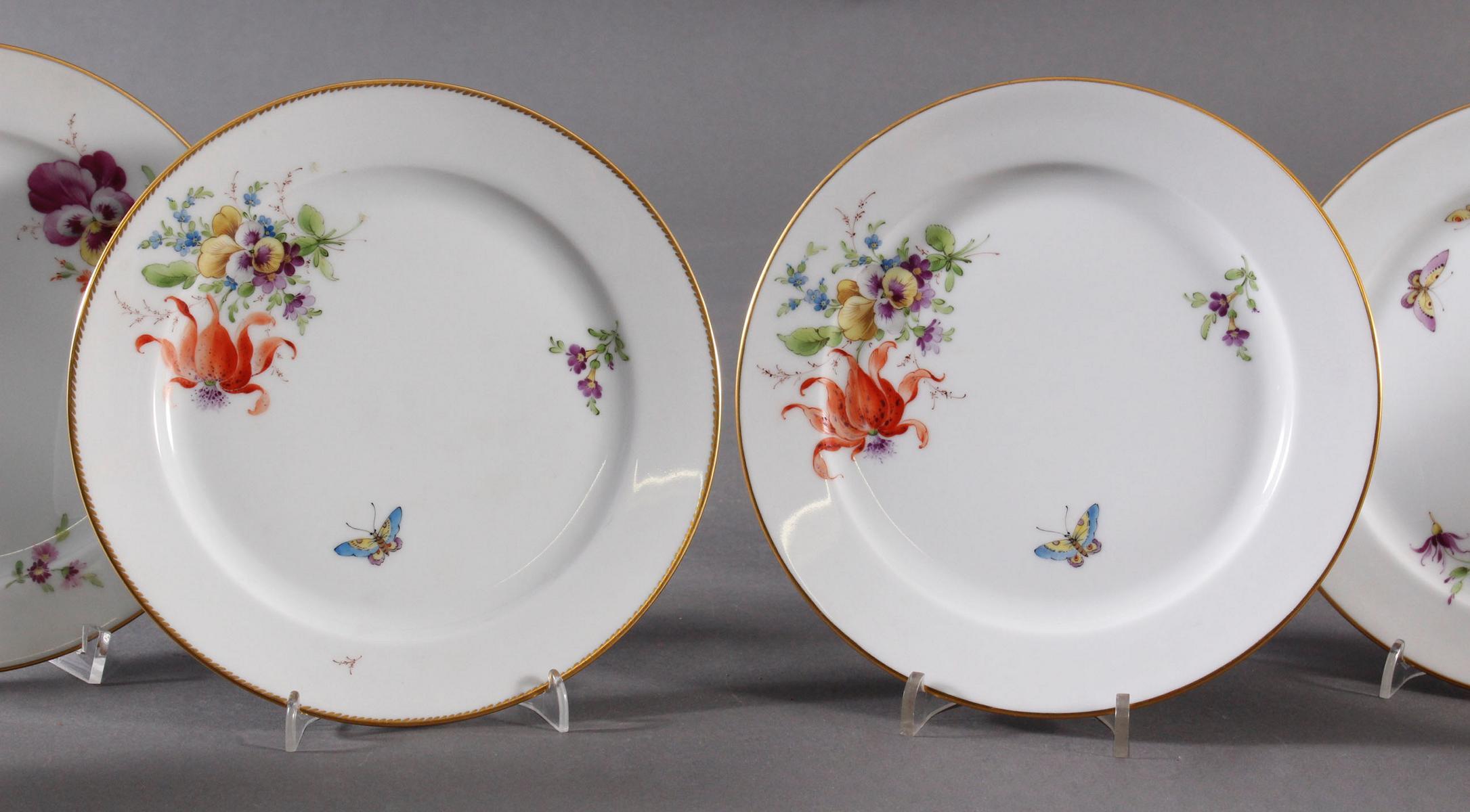 6 Zierteller, Höchster Porzellanmanufaktur, signiert Kurt Schröder-3