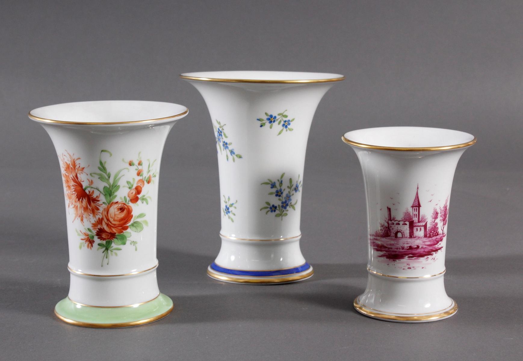 3 Vasen Höchst, signiert Kurt Schröder