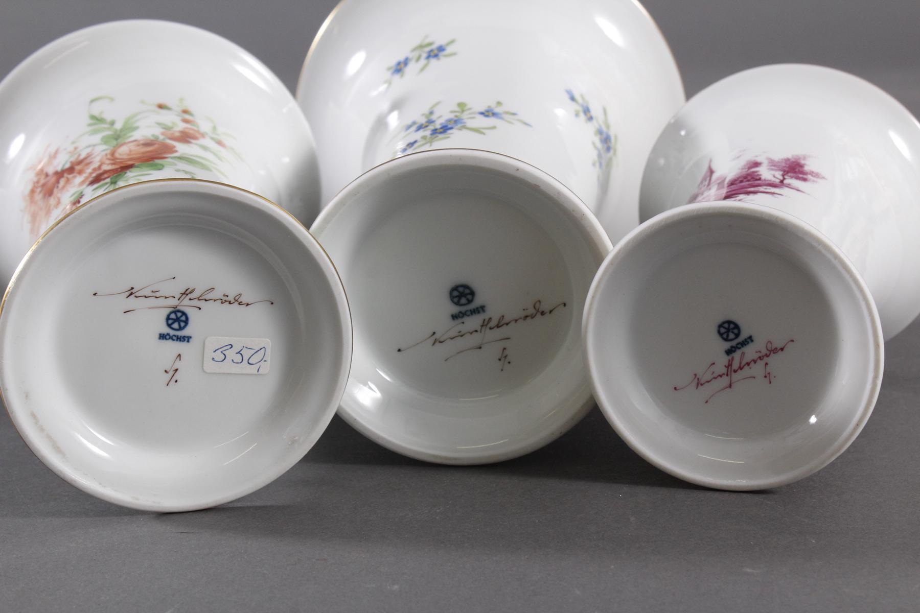 3 Vasen Höchst, signiert Kurt Schröder-3