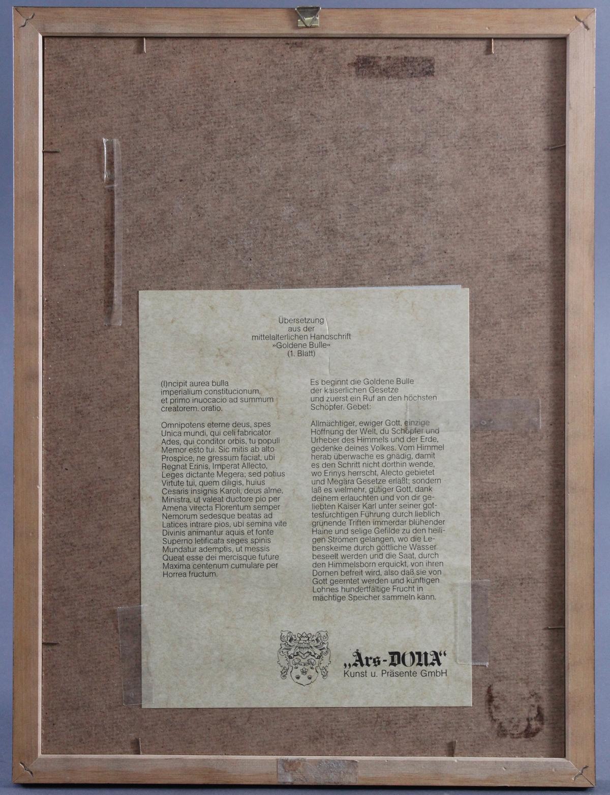 Faksimile-Titelblatt der Goldenen Bulle anno 1356-3