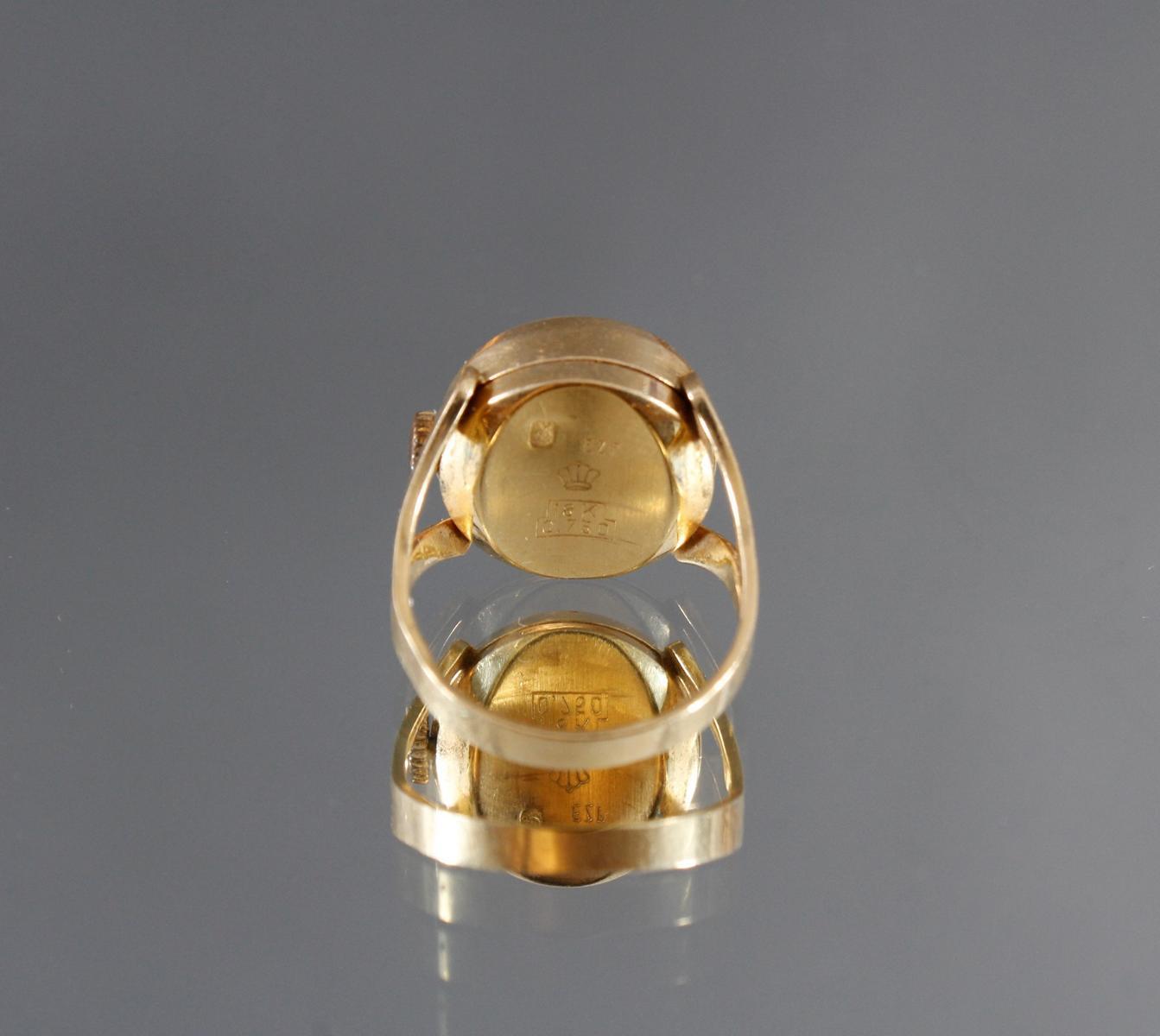 Damenring mit Uhr, 18 kt Gelbgold-4