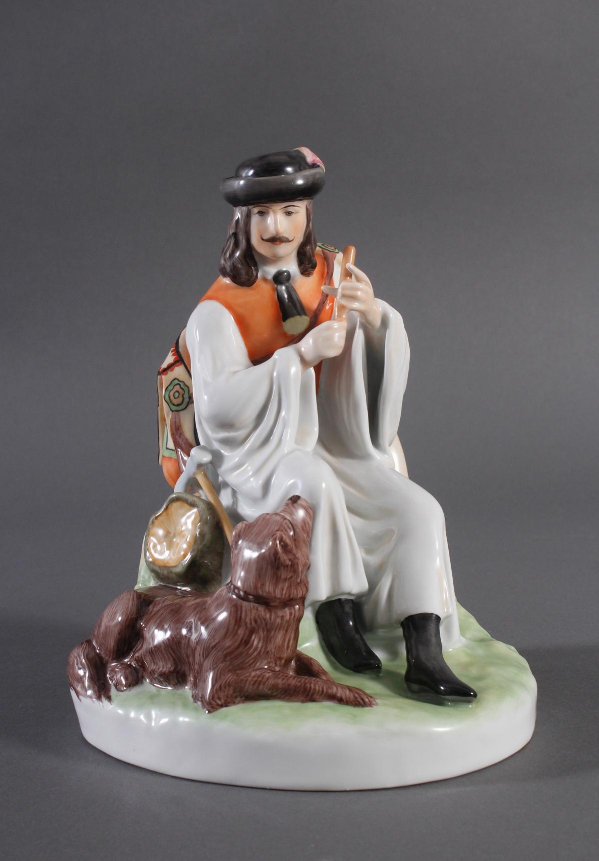 Porzellanfigur, Ungarn, 'Flöte spielender Hirte mit Hund'
