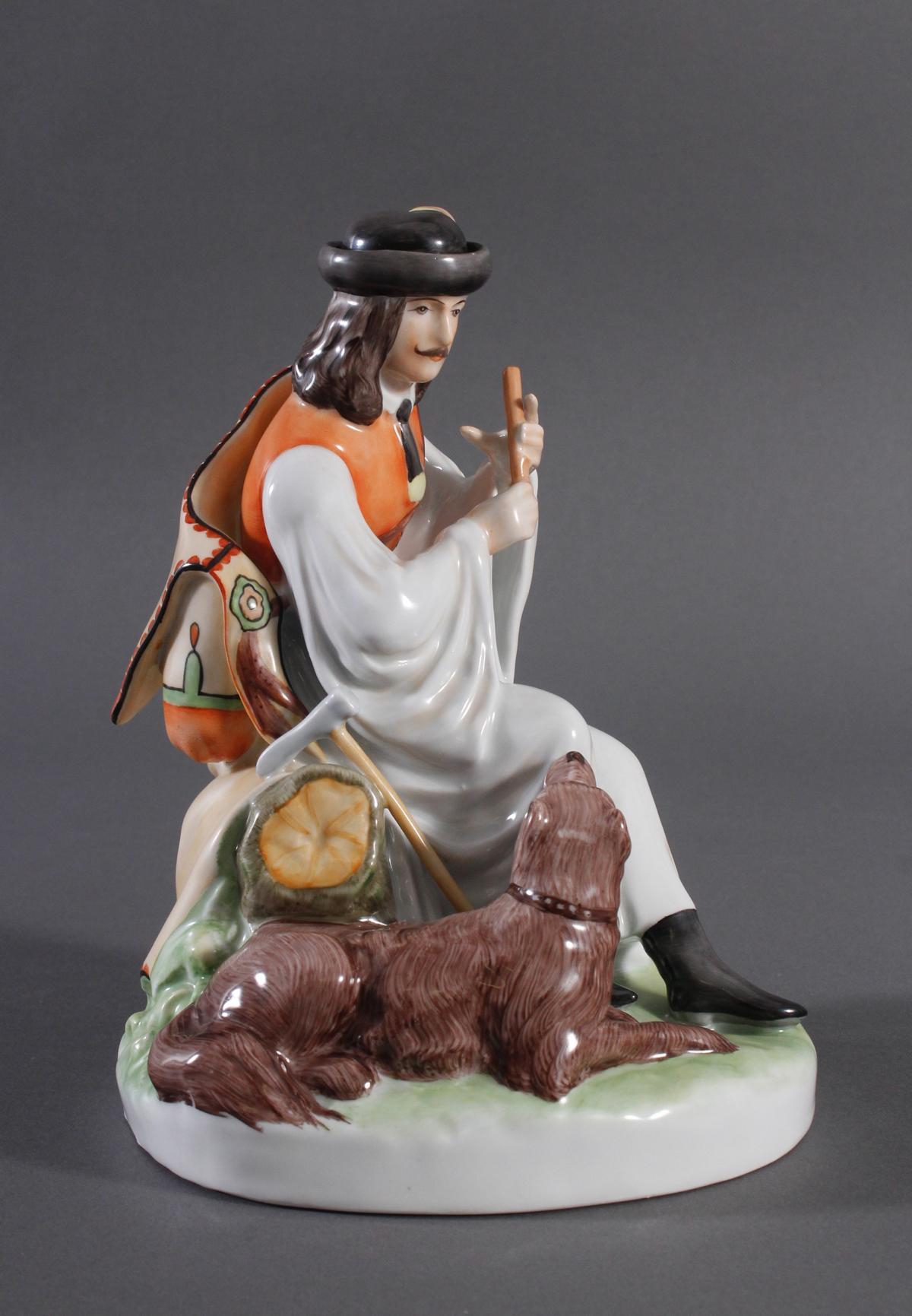 Porzellanfigur, Ungarn, 'Flöte spielender Hirte mit Hund'-2