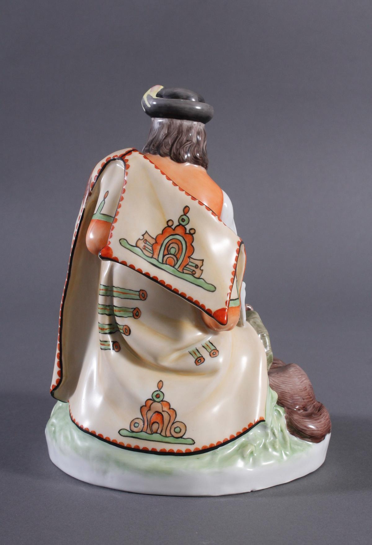 Porzellanfigur, Ungarn, 'Flöte spielender Hirte mit Hund'-3