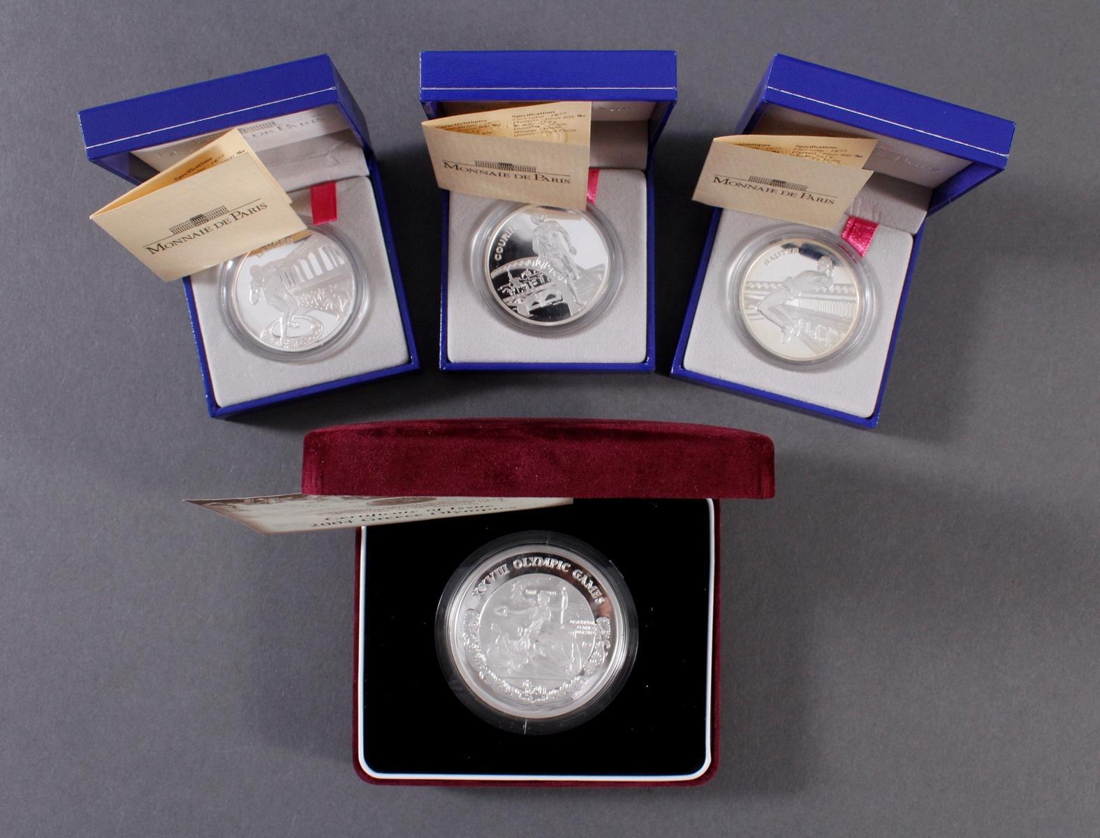 3 Silbermünzen Monnaie de Paris und Olympische Spiele Griechenland 2004