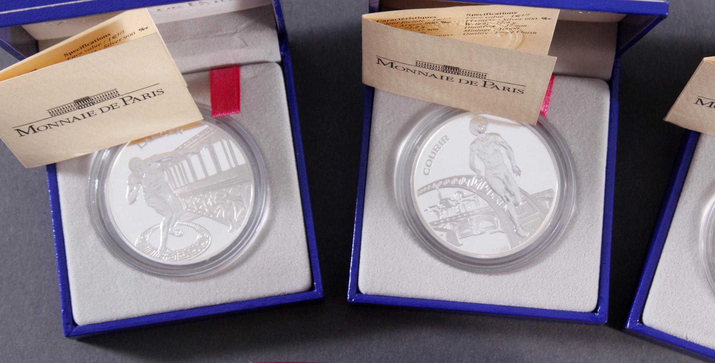 3 Silbermünzen Monnaie de Paris und Olympische Spiele Griechenland 2004-3