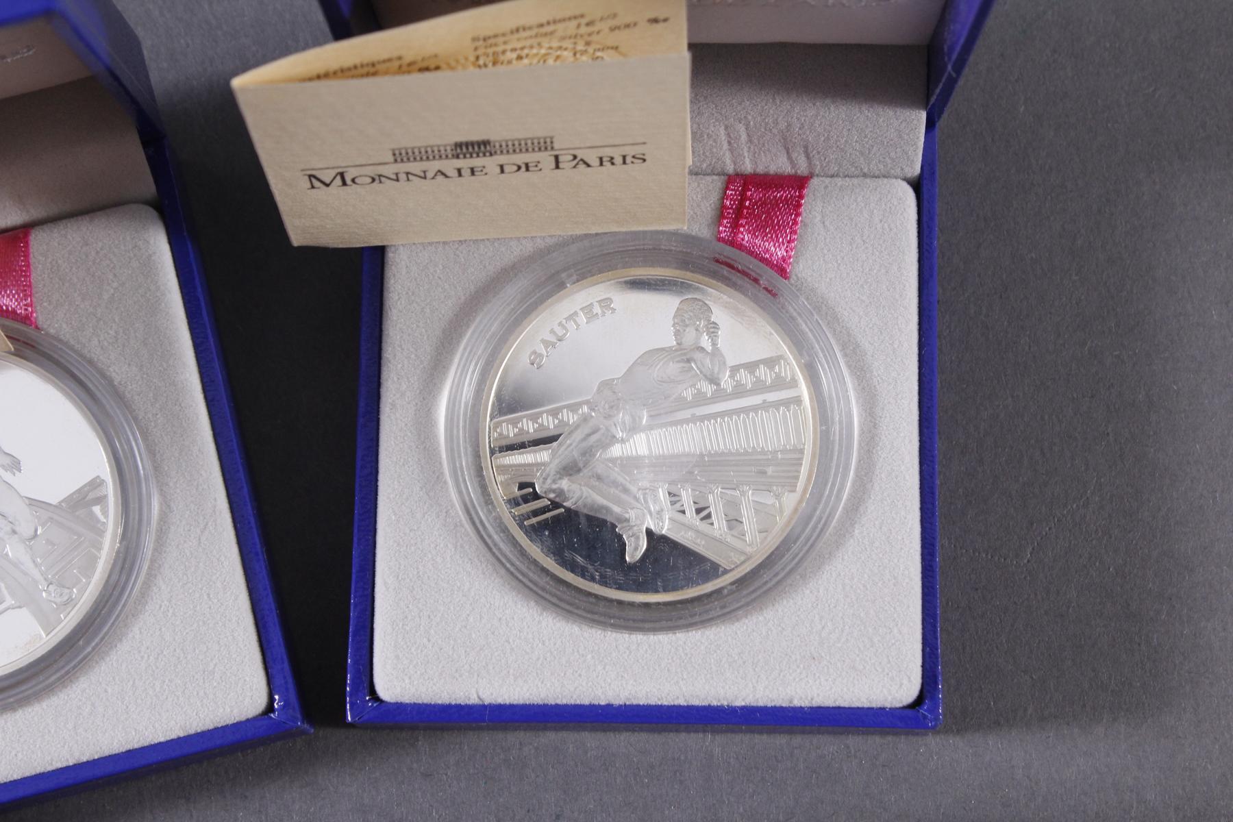 3 Silbermünzen Monnaie de Paris und Olympische Spiele Griechenland 2004-4