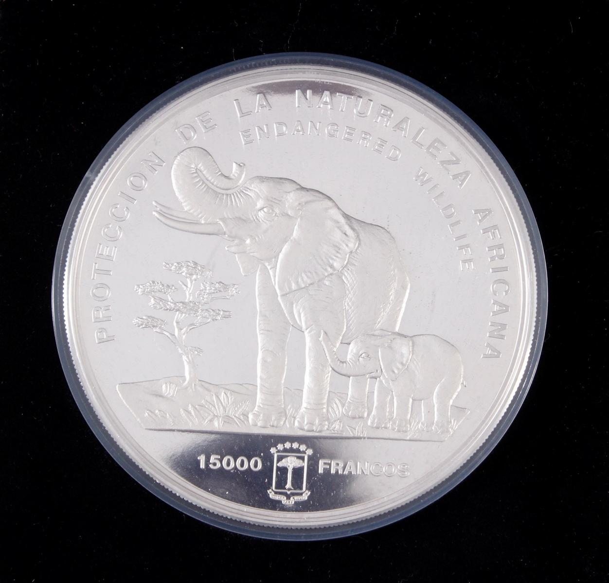 Silbermünze 15.000 Francos 1992 Guinea, 999,9 Silber, 1 kg-2