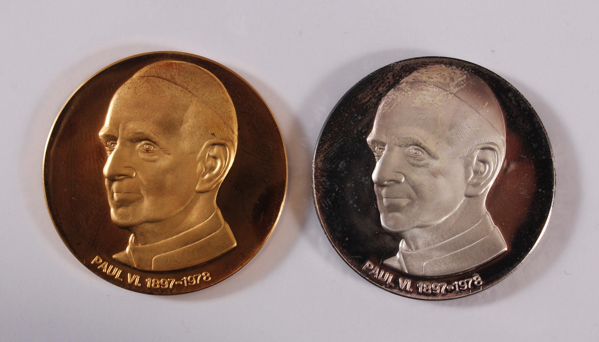 Gold- und Silbermedaille Paul VI. 1897 – 1978, Justinianskreuz