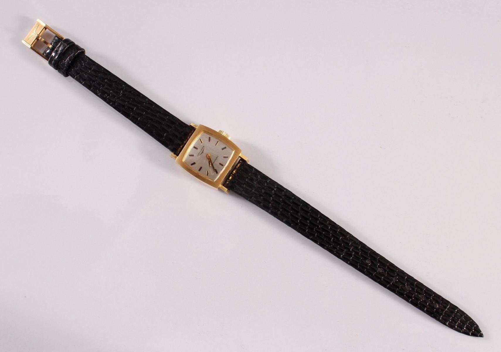 Longine Automatic Damenarmbanduhr, 18 Karat Gelbgold