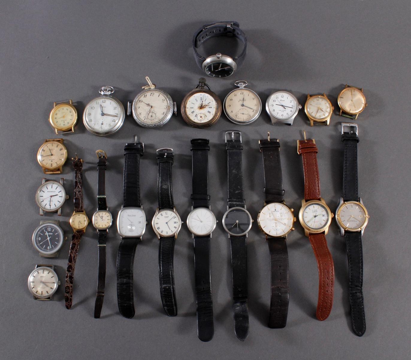 Konvolut Taschen- und Armbanduhren