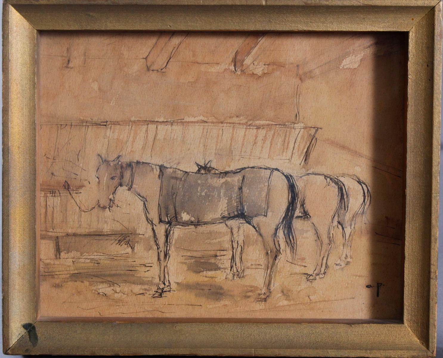 August Ritter VON PETTENKOFEN (1822-1889), 3 angebundene Pferde