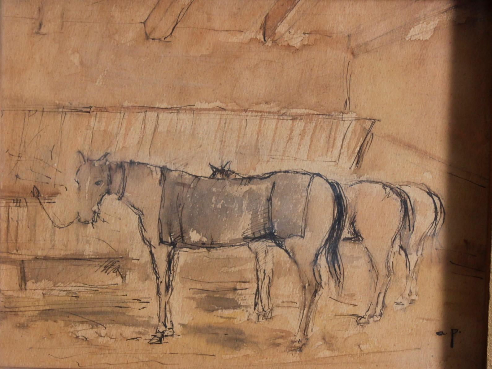 August Ritter VON PETTENKOFEN (1822-1889), 3 angebundene Pferde-2