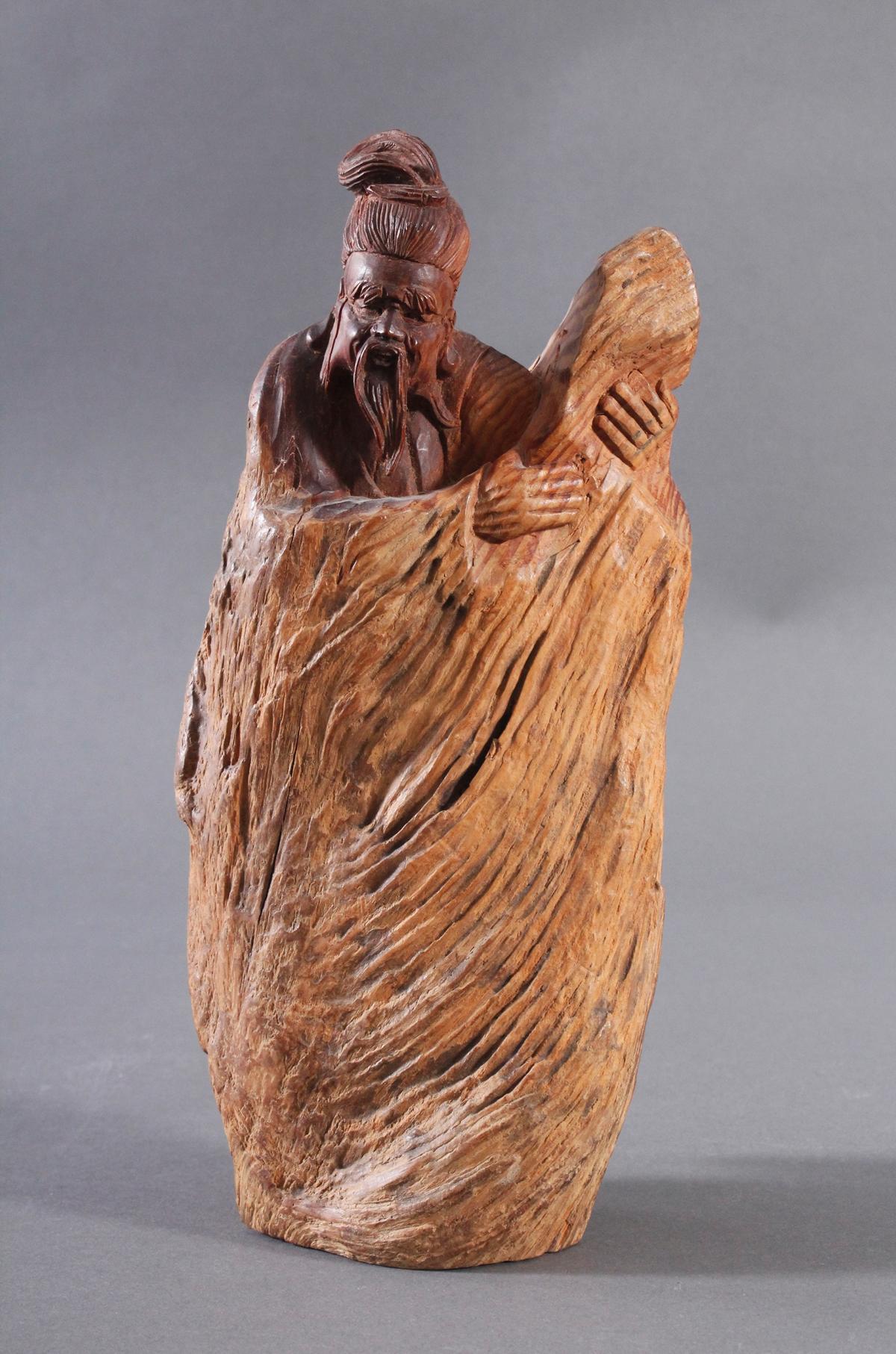 Holzskulptur, China 2. Hälfte 20. Jh. Mann mit Bart