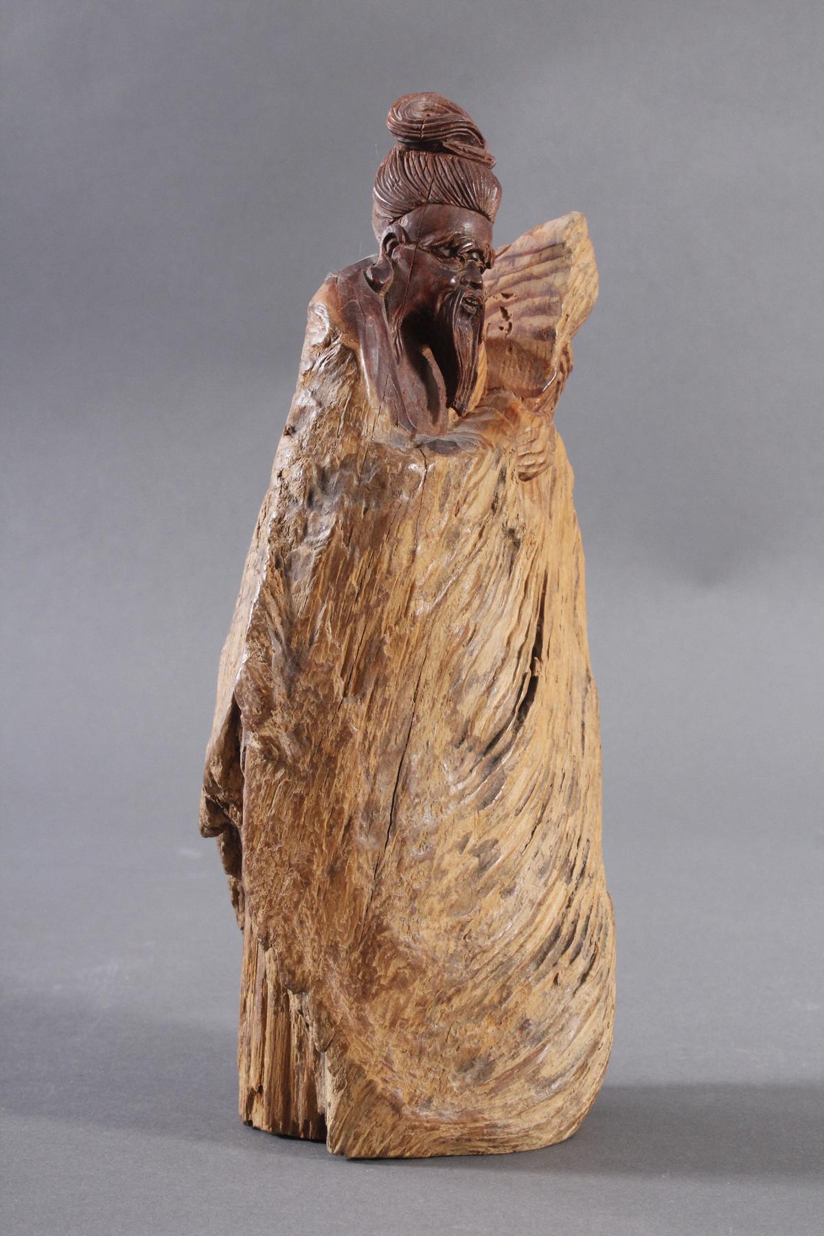 Holzskulptur, China 2. Hälfte 20. Jh. Mann mit Bart-3