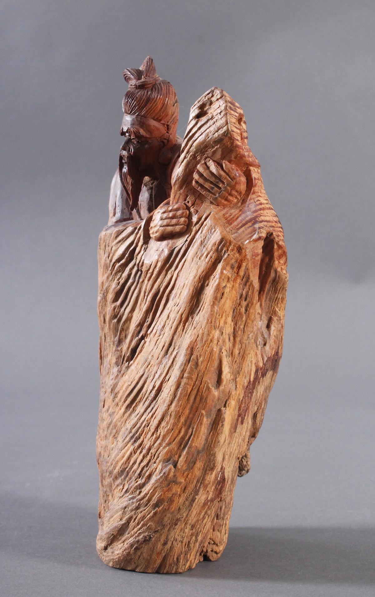 Holzskulptur, China 2. Hälfte 20. Jh. Mann mit Bart-4