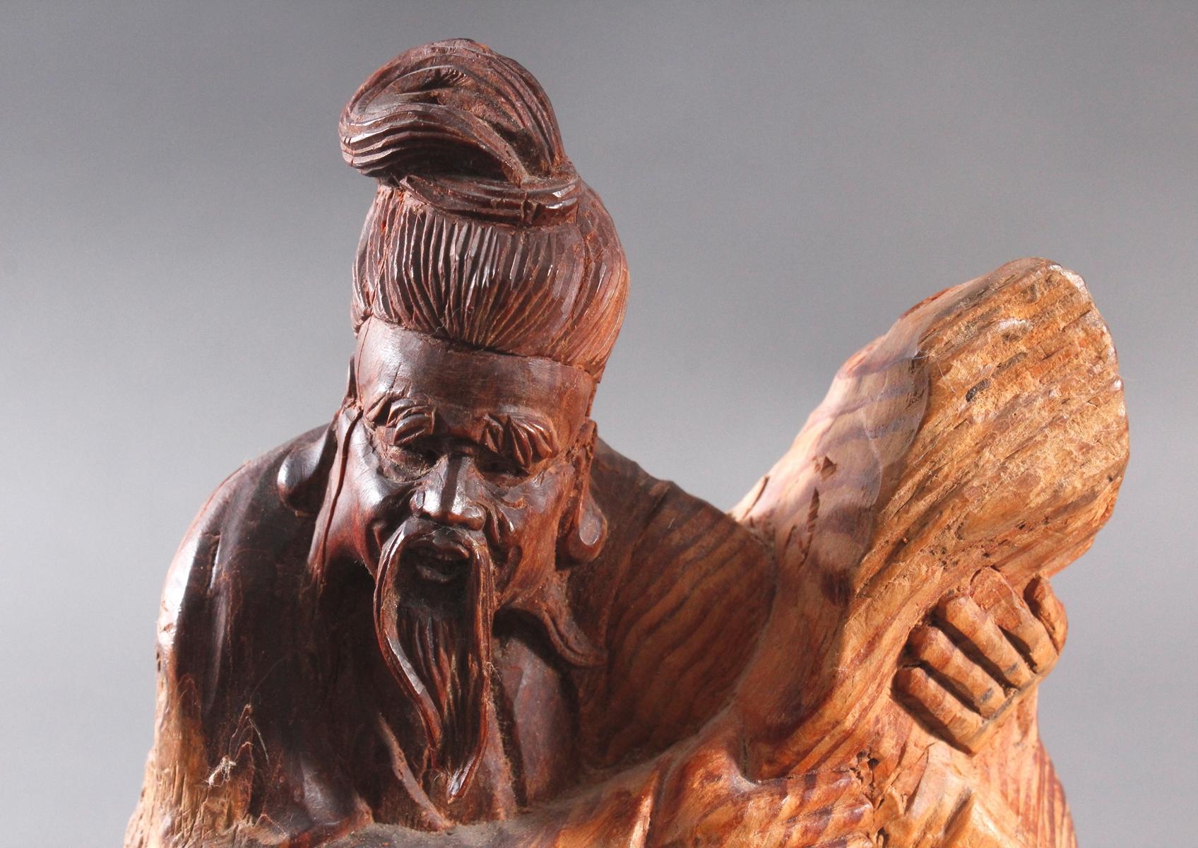 Holzskulptur, China 2. Hälfte 20. Jh. Mann mit Bart-5