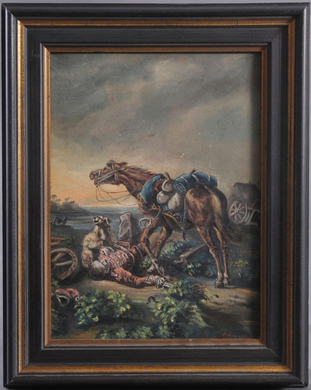 Gefallener Soldat. Gemälde 19. Jahrhundert