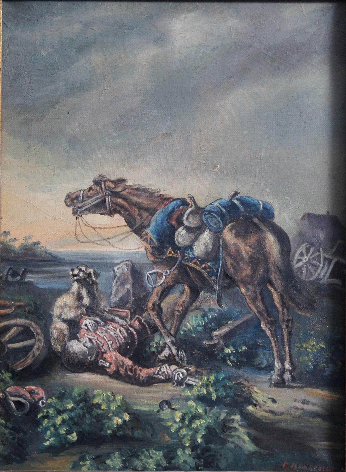 Gefallener Soldat. Gemälde 19. Jahrhundert-2