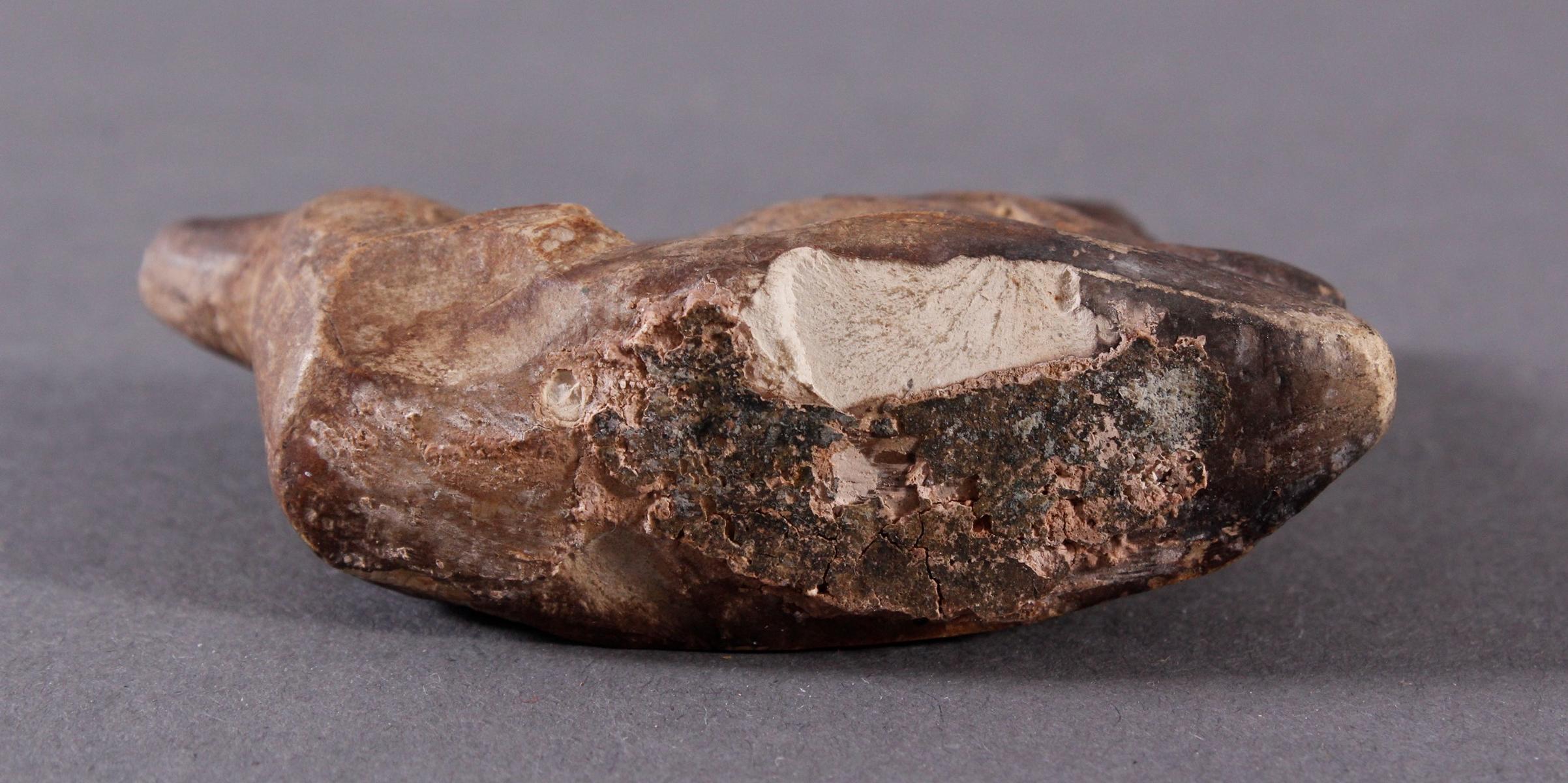 Ausgrabungsobjekt, Hund aus hellem Stein geschnitzt-6
