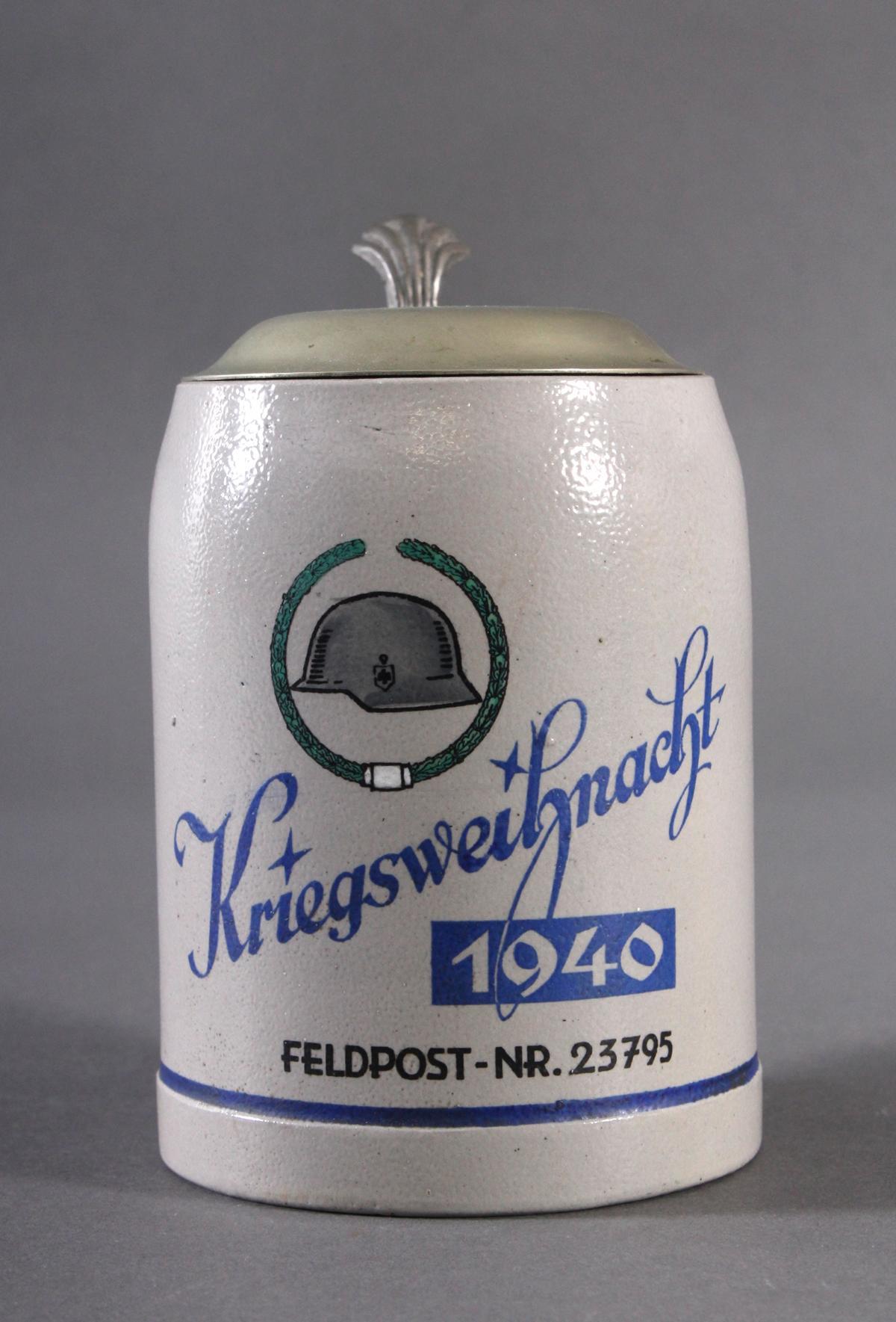 Bierkrug mit Zinndeckel, Kriegsweihnacht 1940