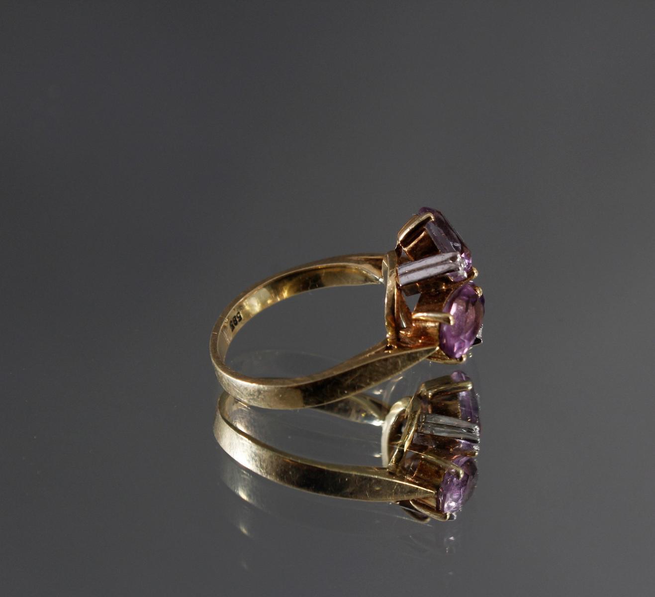 Damenring mit 3 kleinen Diamanten und 3 facettierten Amethysten, 14 kt Gelbgold-3