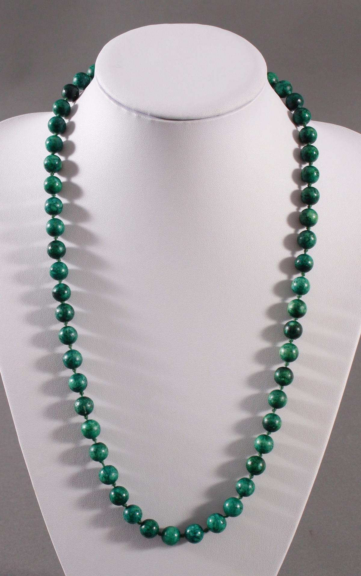 Malachit Halskette mit 14 kt Gelbgoldschließe