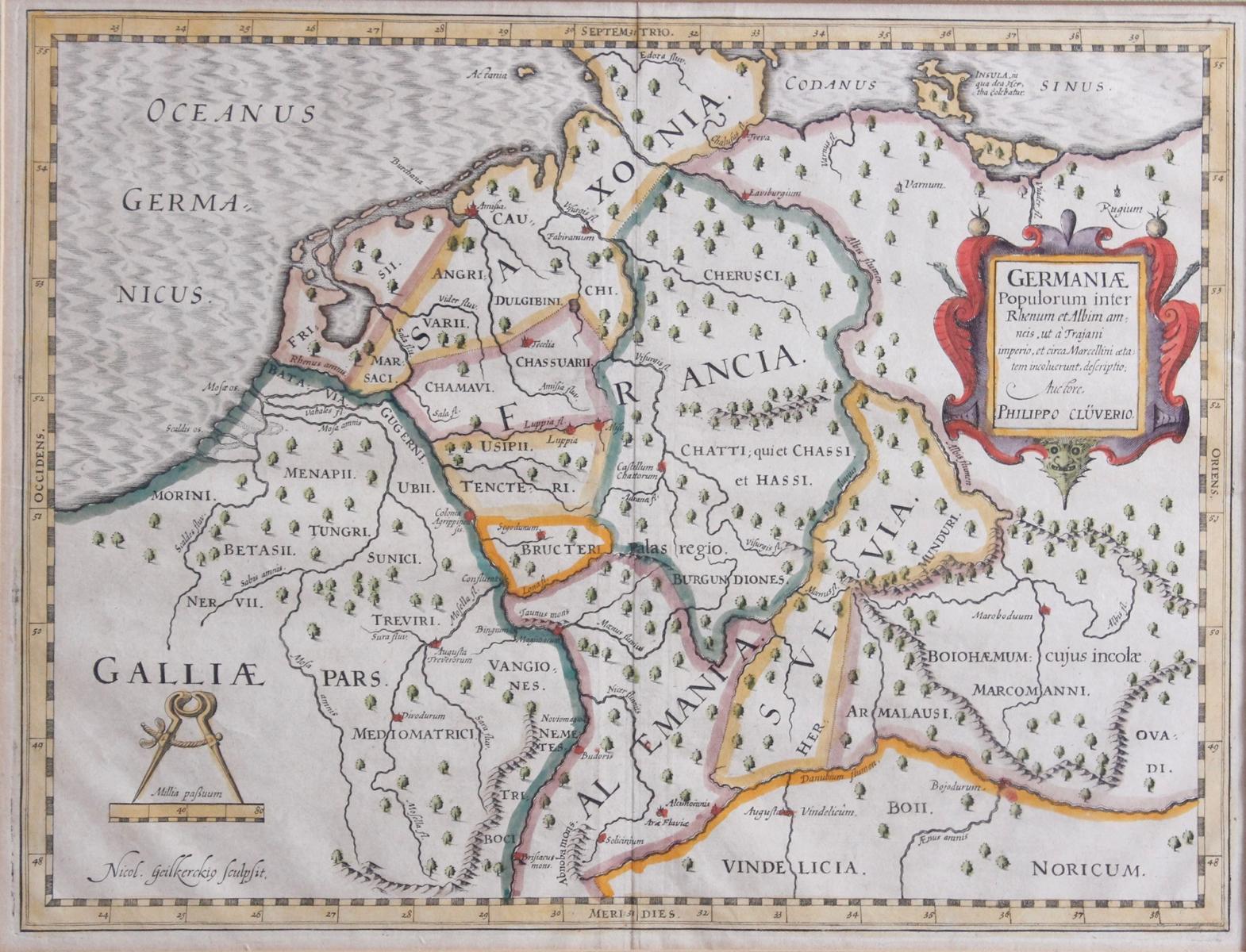 Kupferstich aus dem 17. Jh. Germania Populorum inter Rhenum et Albim am neis ut a Trajani-2