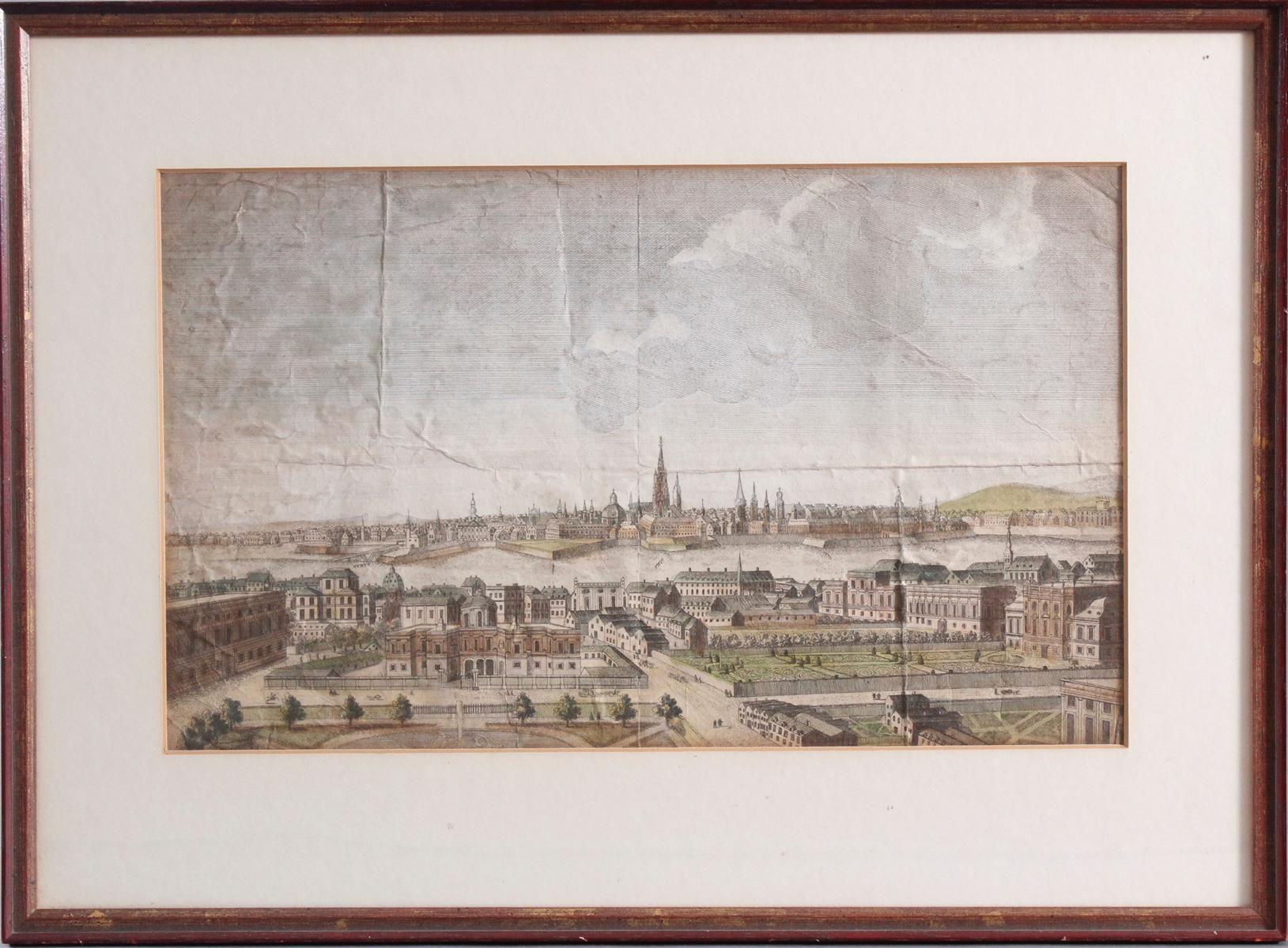 Kupferstich aus dem 18. Jh. A general view of the City of Vienna, anonymer Künstler