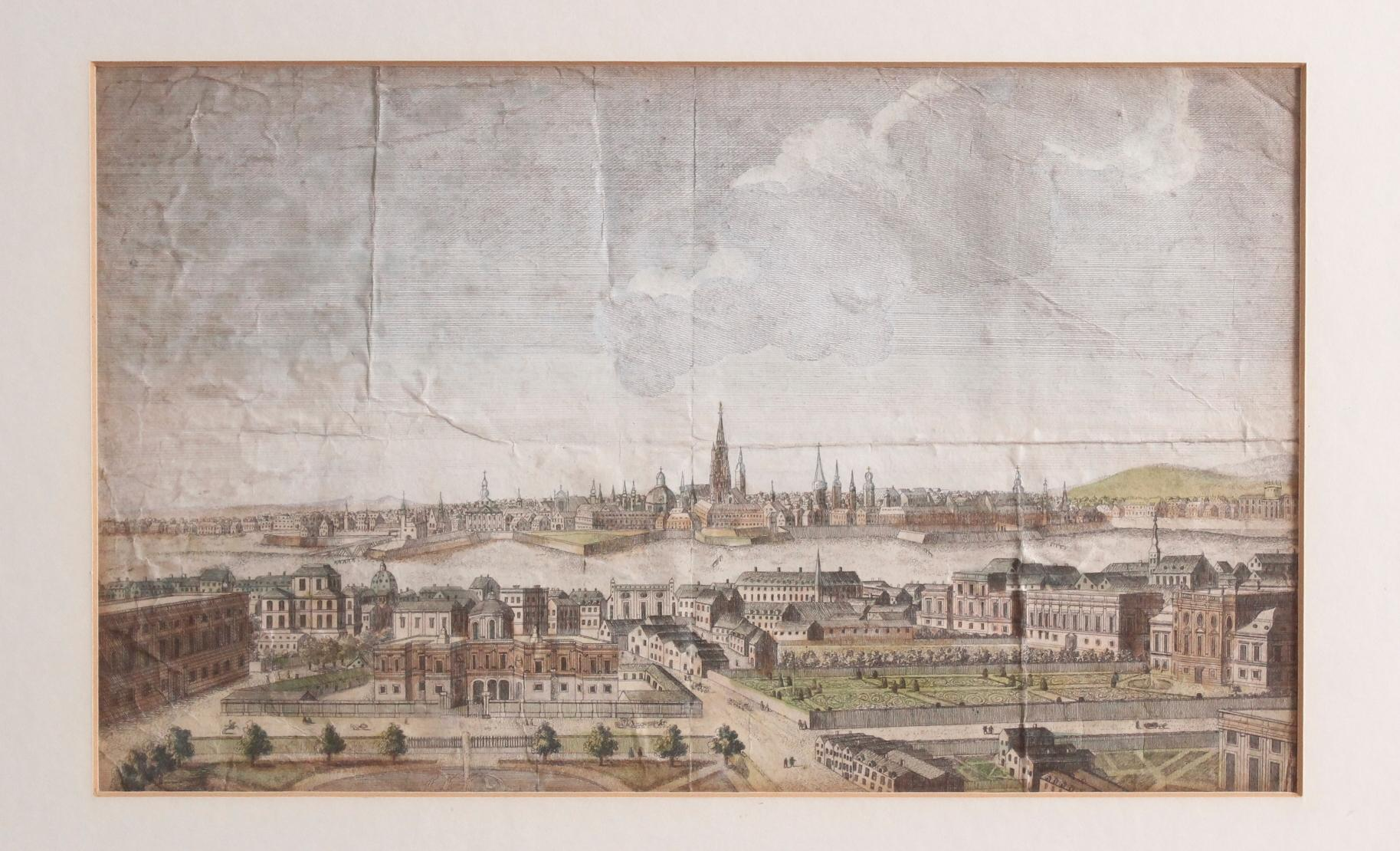 Kupferstich aus dem 18. Jh. A general view of the City of Vienna, anonymer Künstler-2
