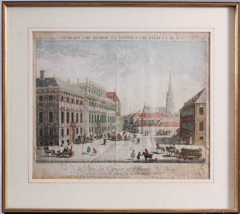 Kupferstich aus dem 18. Jh. Vue de la Place des Capucins et Marce des Oifeaux, Bordeaux