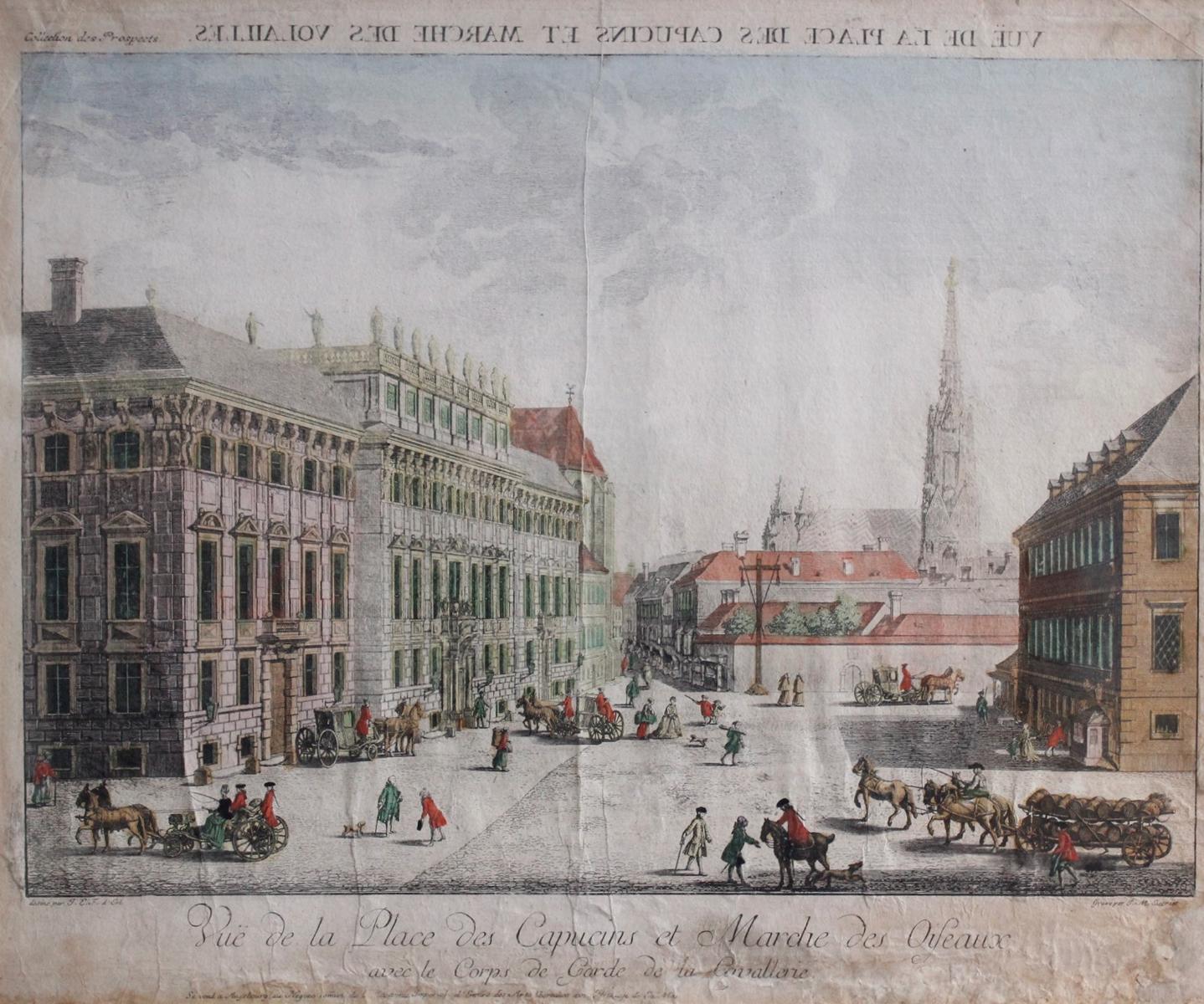 Kupferstich aus dem 18. Jh. Vue de la Place des Capucins et Marce des Oifeaux, Bordeaux-2