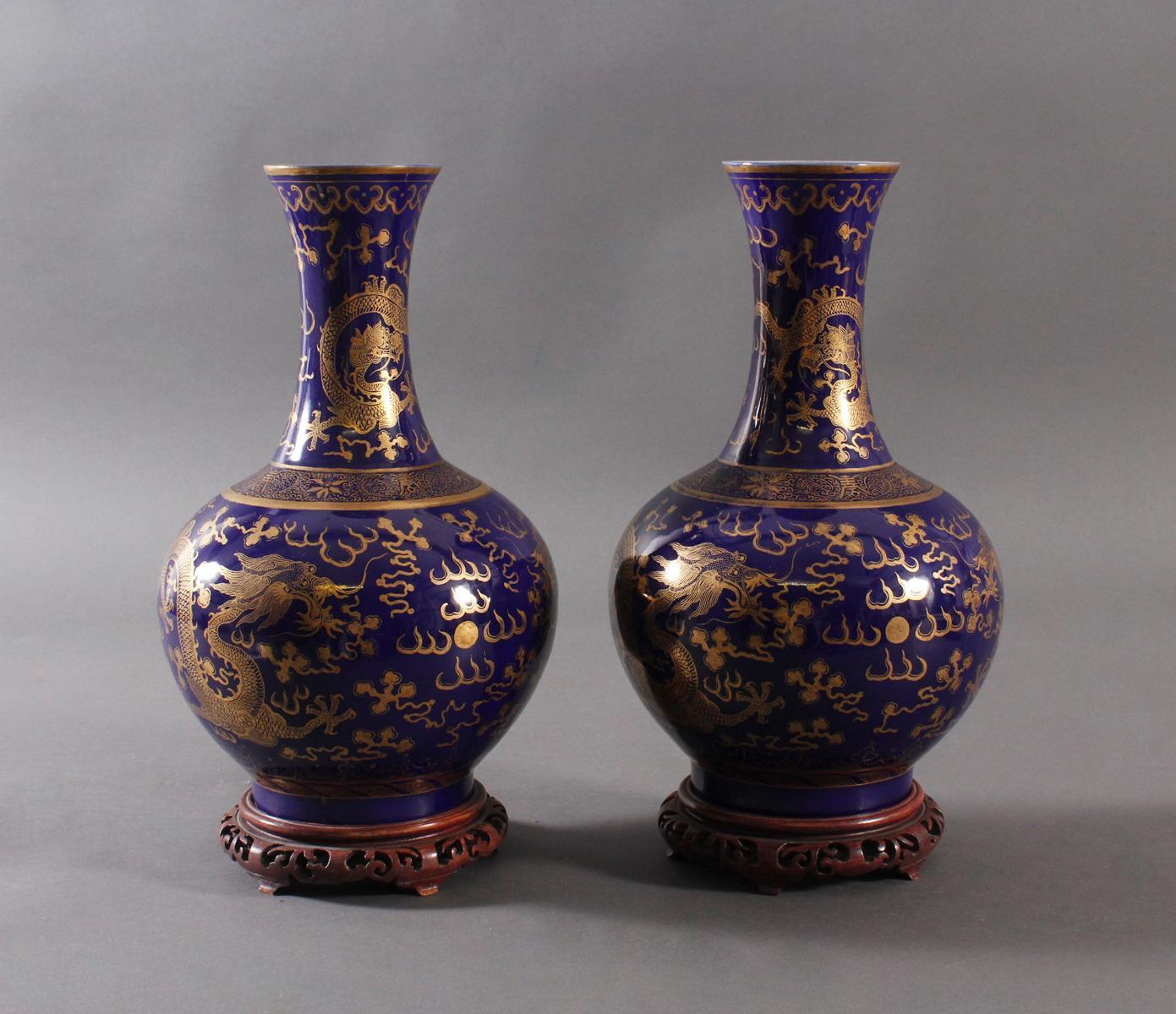 Paar 'Powder Blue' Porzellan Vasen, Qing Dynastie (1875-1908)-2