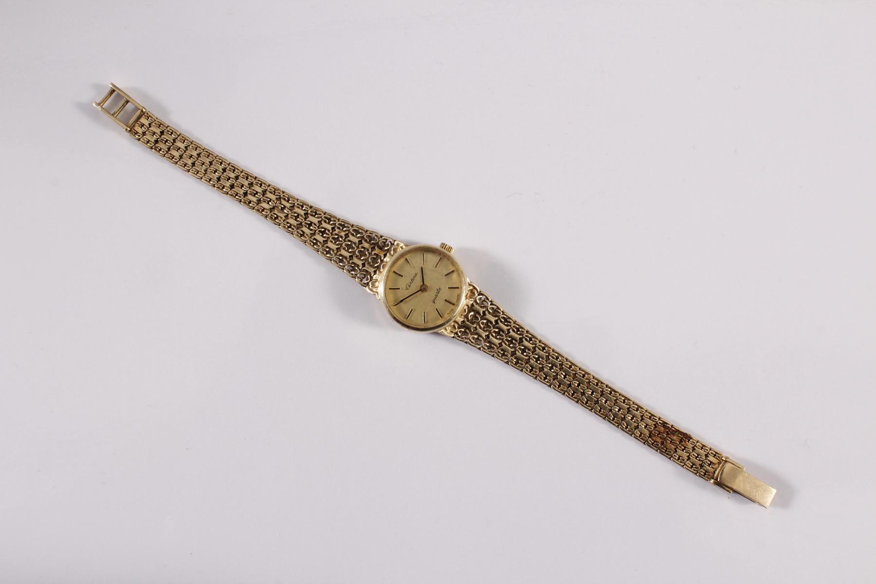 Damenarmbanduhr der Marke Sertina, 14 kt Gelbgold