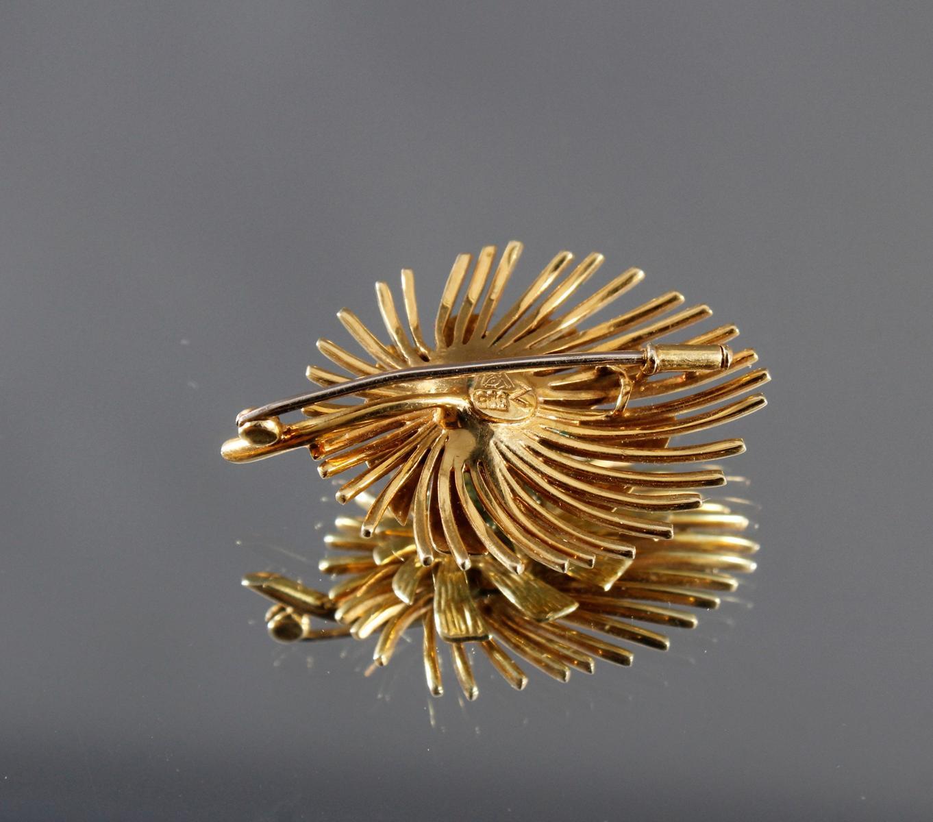 Brosche mit Peridot im Diamantschliff, 14 kt Gelbgold-2