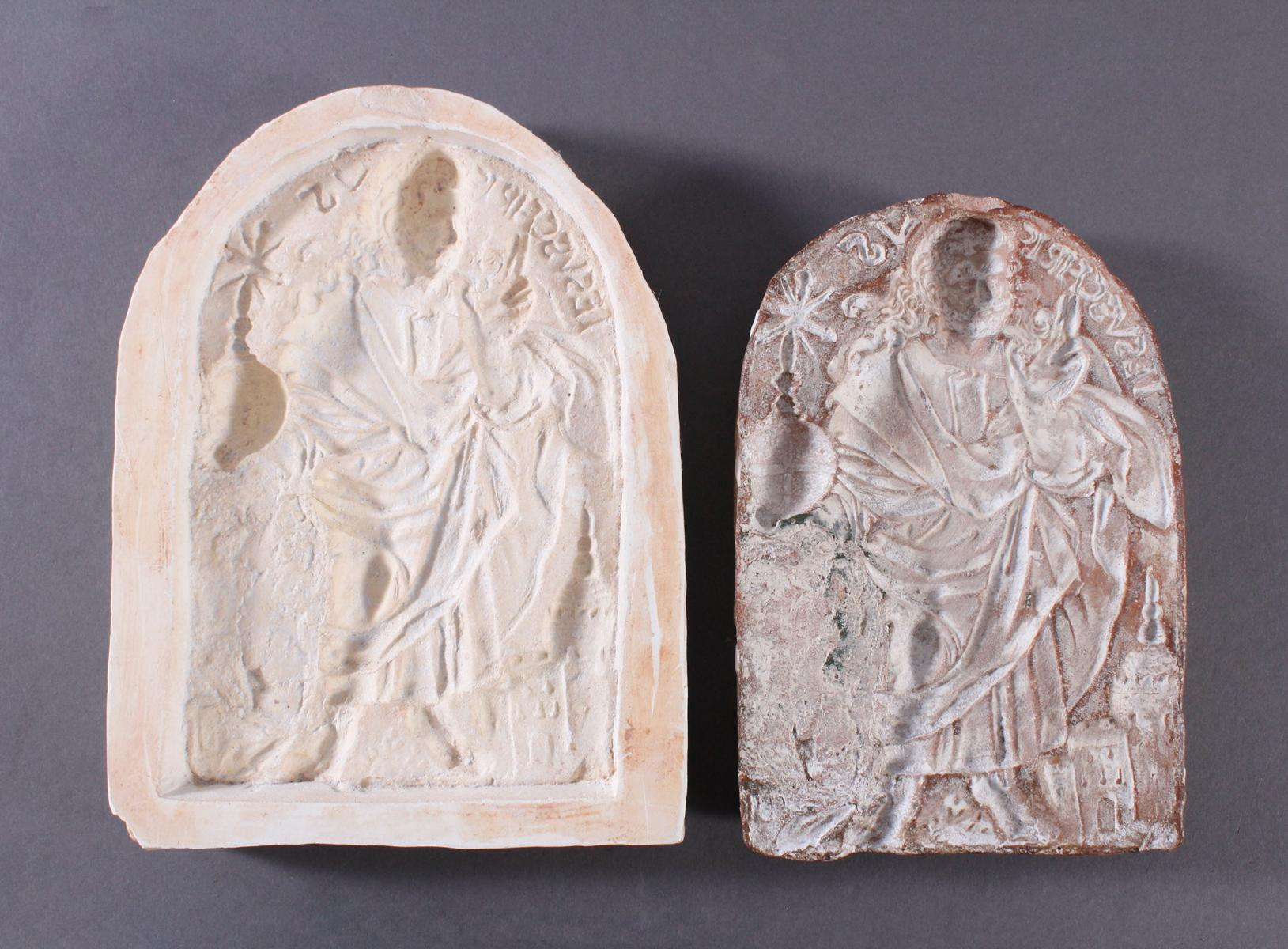 Religiöses, Terracotta und Gipstafel