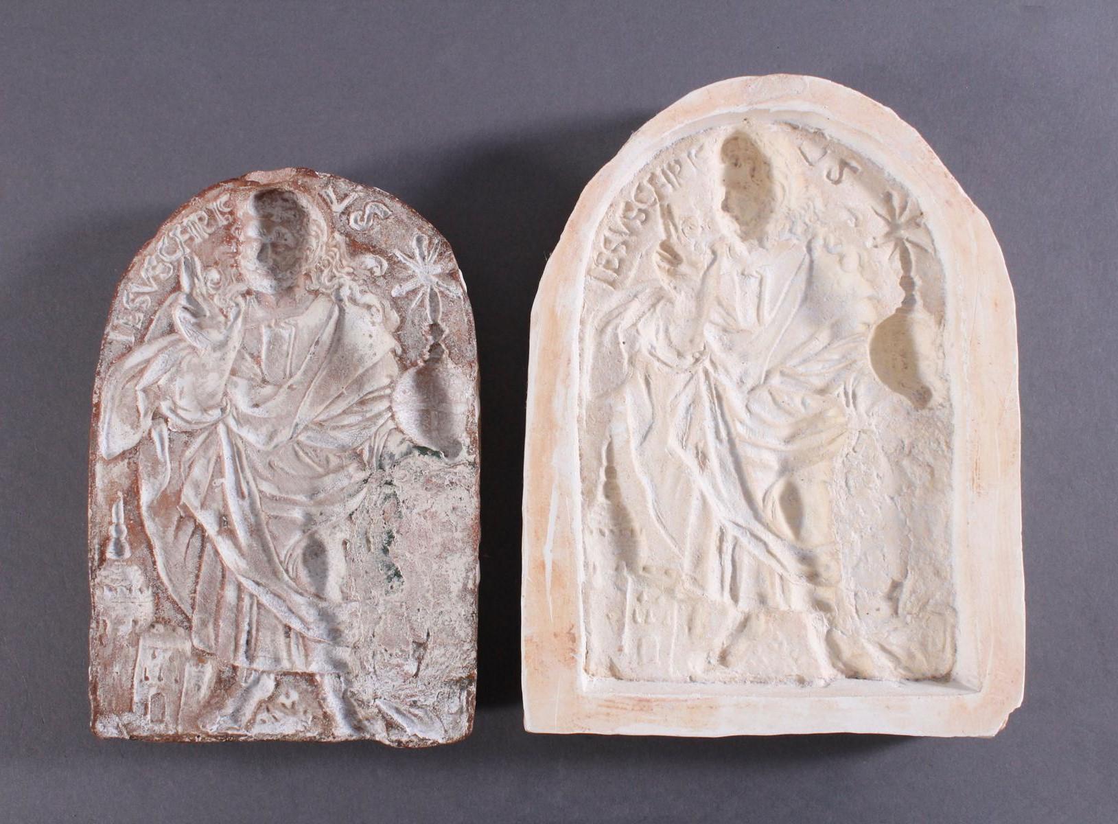 Religiöses, Terracotta und Gipstafel-2