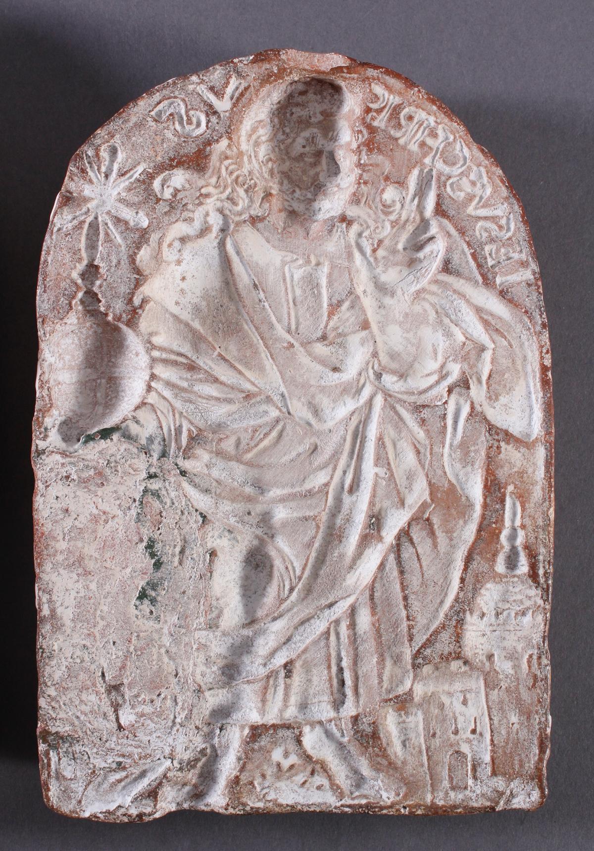 Religiöses, Terracotta und Gipstafel-4