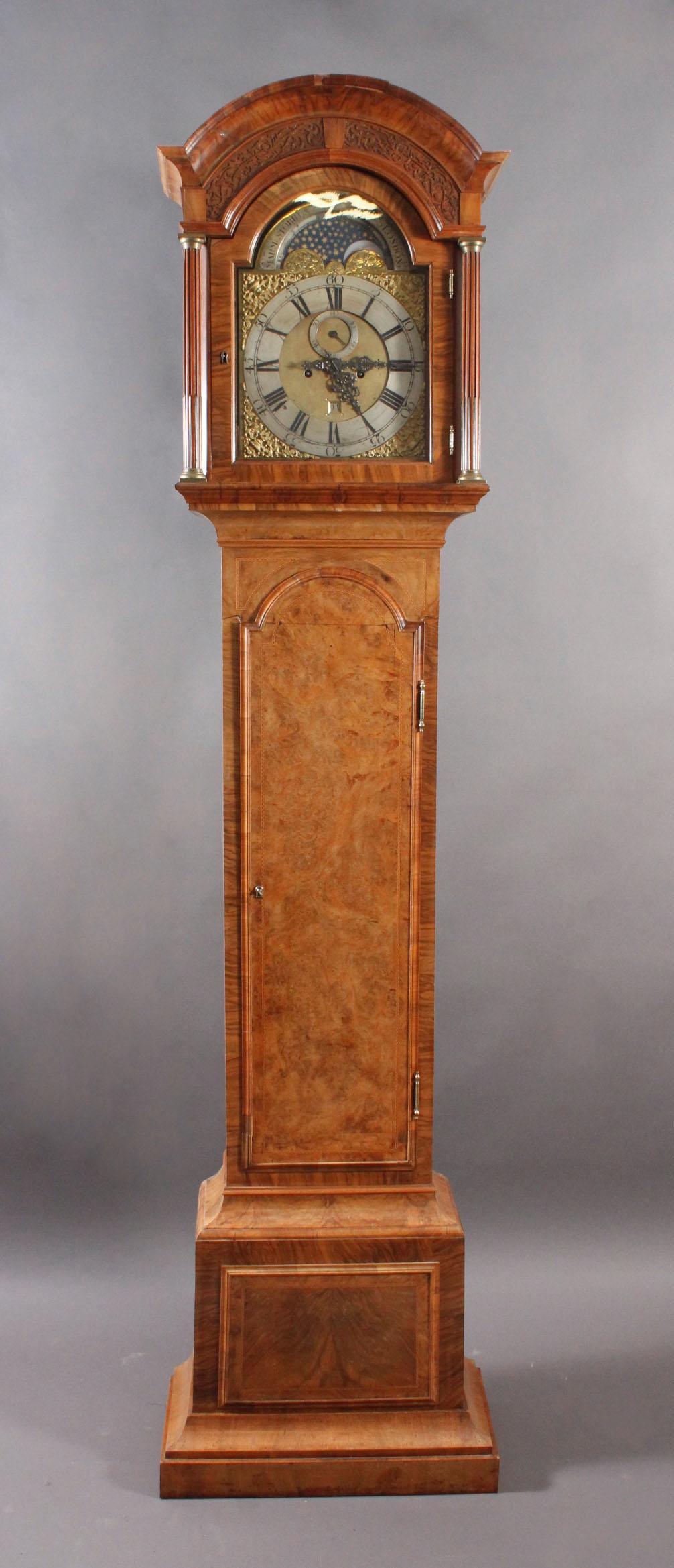 Barocke Standuhr, 18. Jh., Mondphase, Marm Storr London