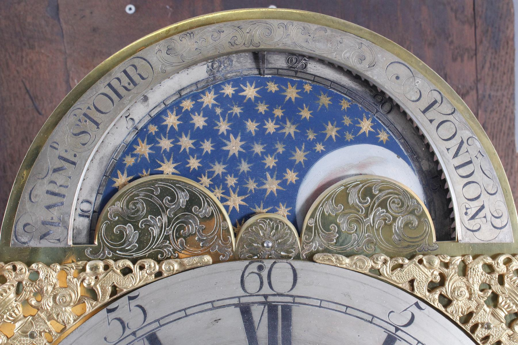 Barocke Standuhr, 18. Jh., Mondphase, Marm Storr London-4