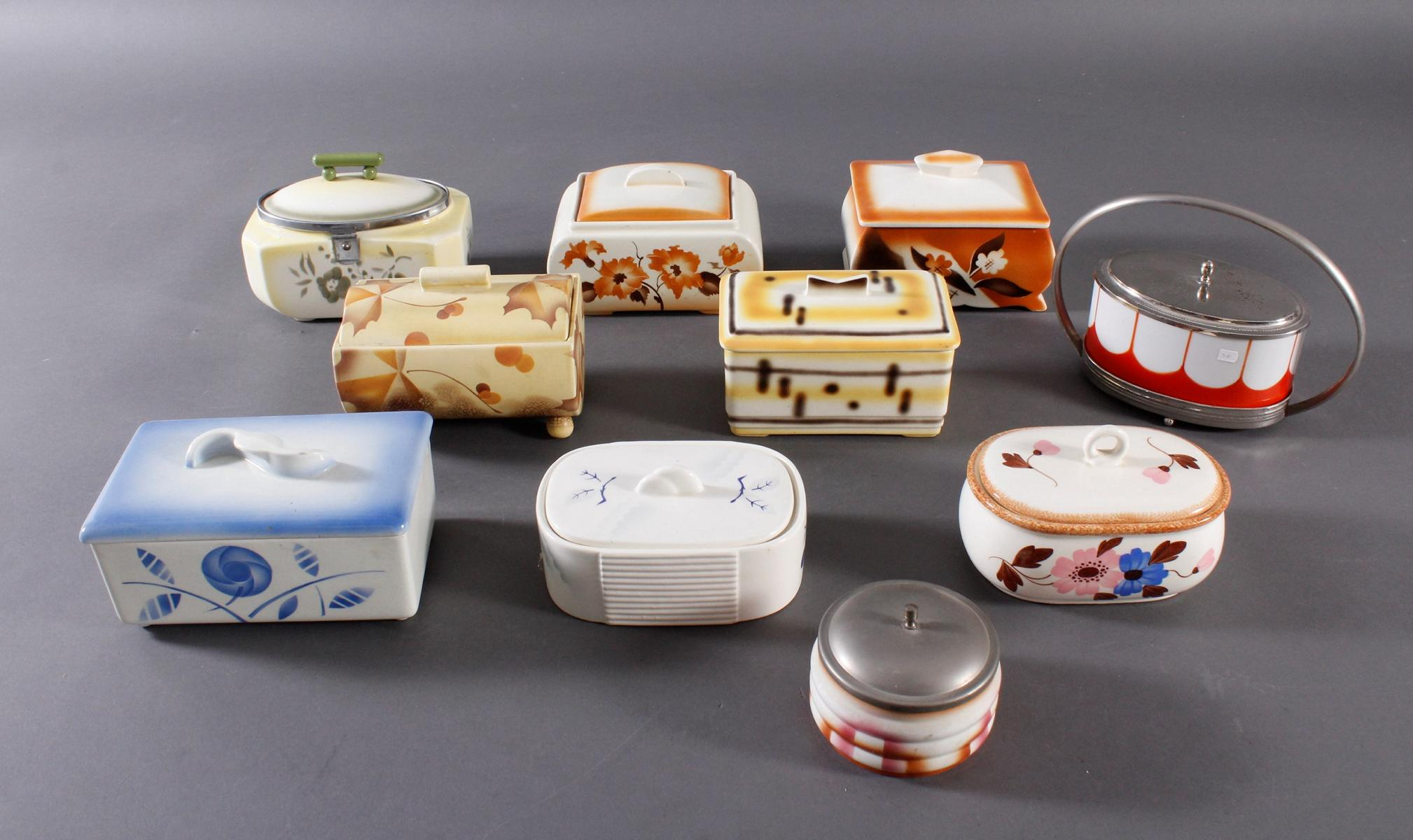10 Keramik Gebäck- / Aufbewahrungsdosen