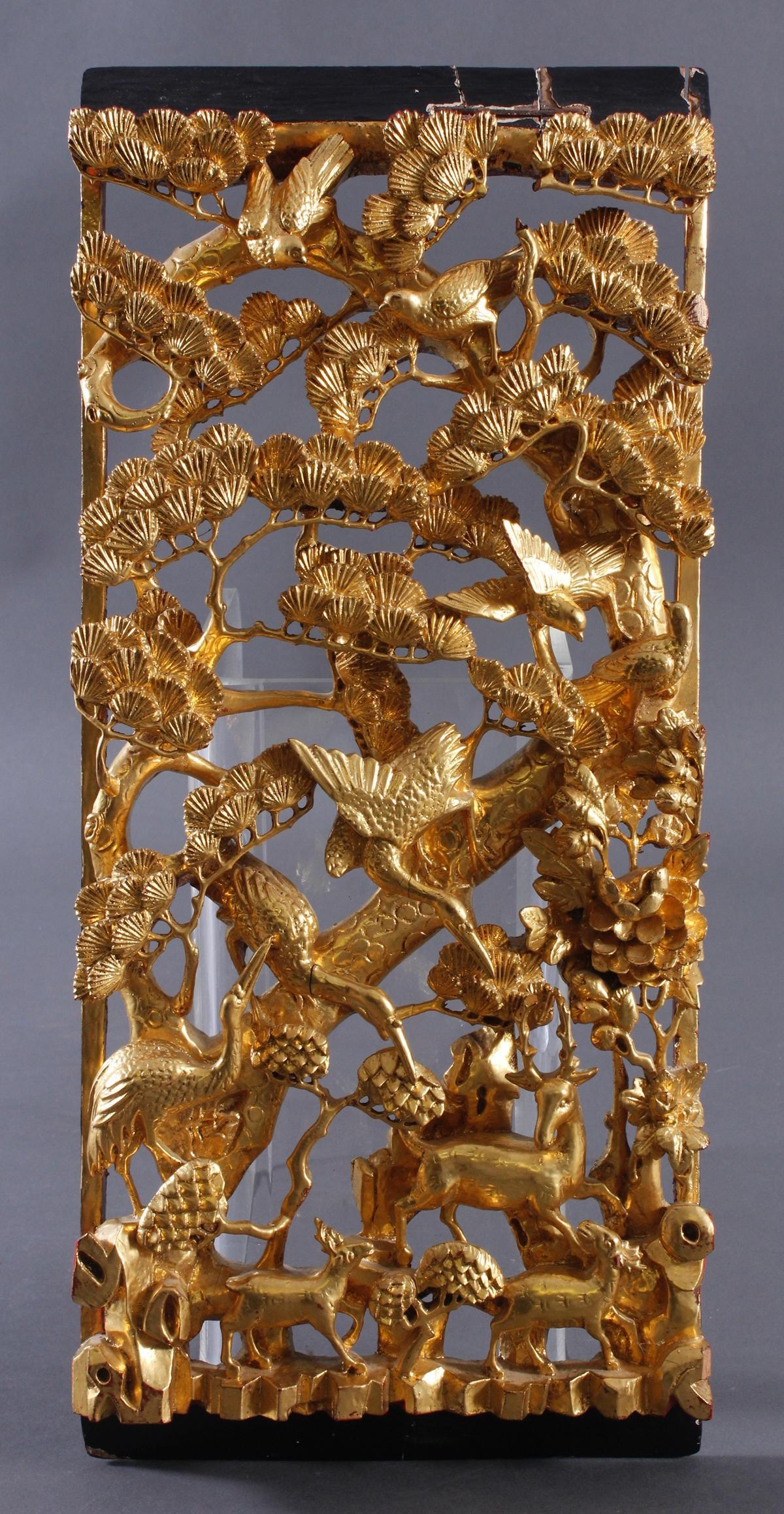 Holzgeschnitztes chinesisches Relief um 1900