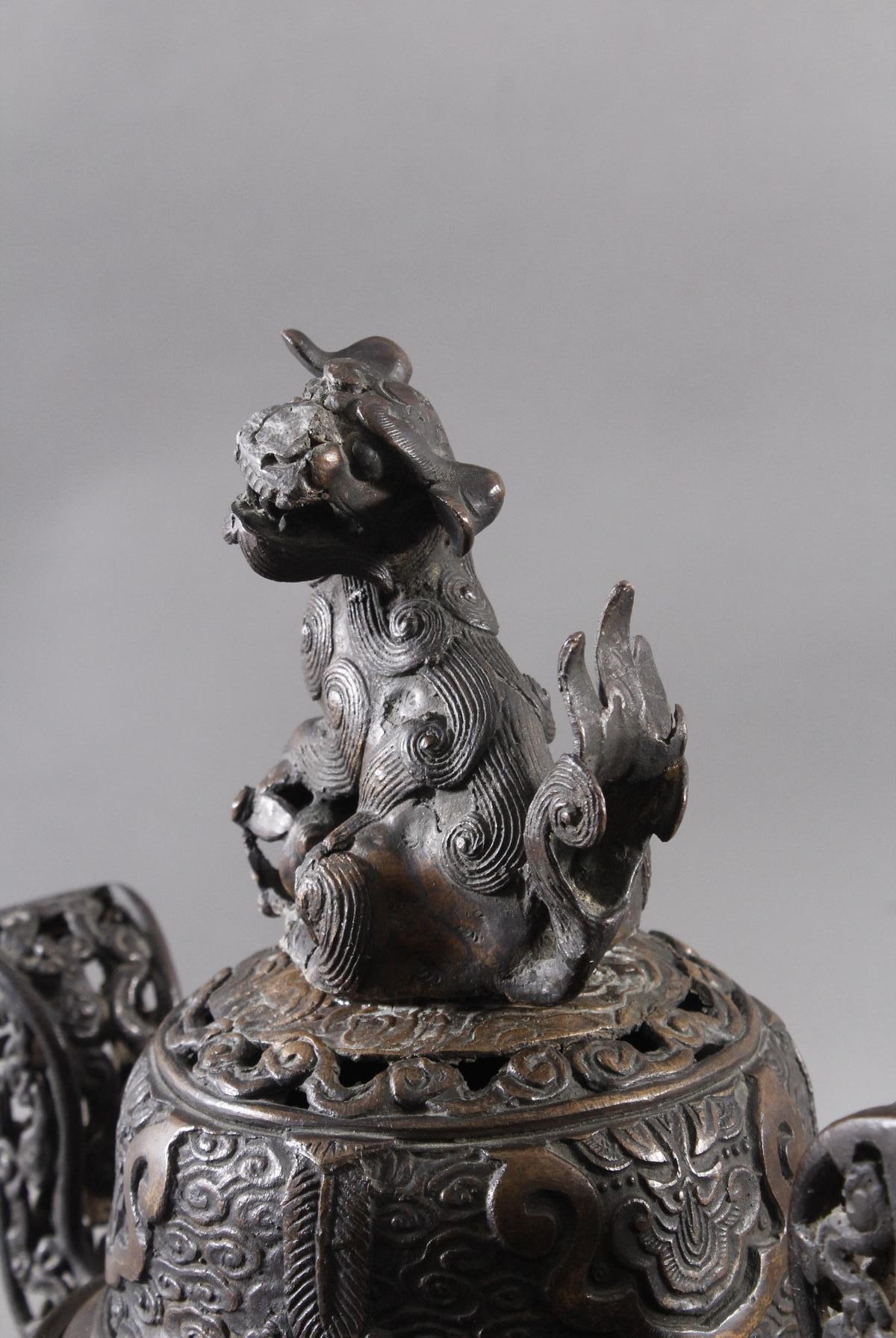 Großer Räucherkoro aus Bronze, China um 1900-4