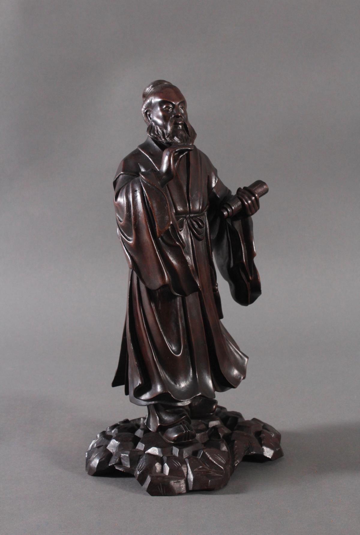 Chinesische Holzskulptur, 'Gelehrter', um 1880-2