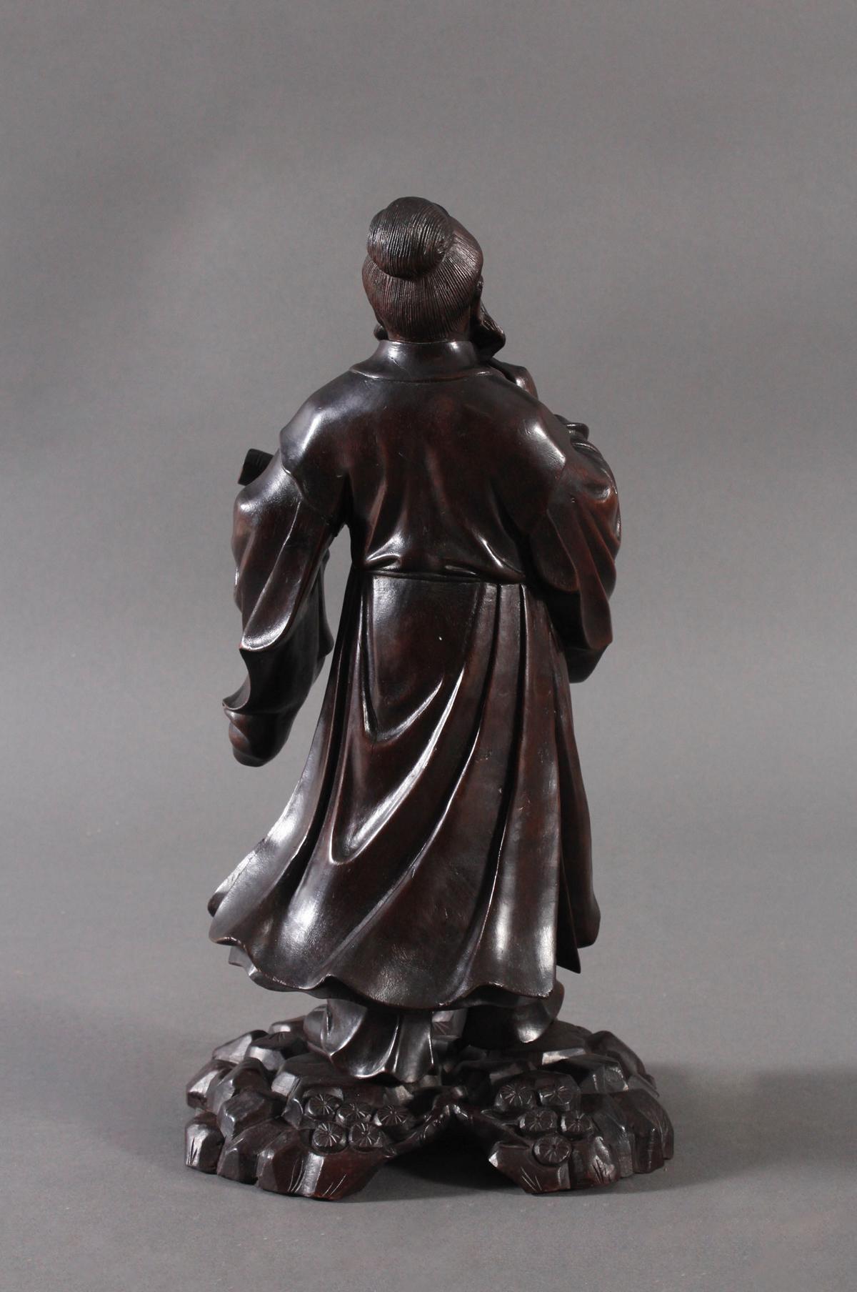 Chinesische Holzskulptur, 'Gelehrter', um 1880-3