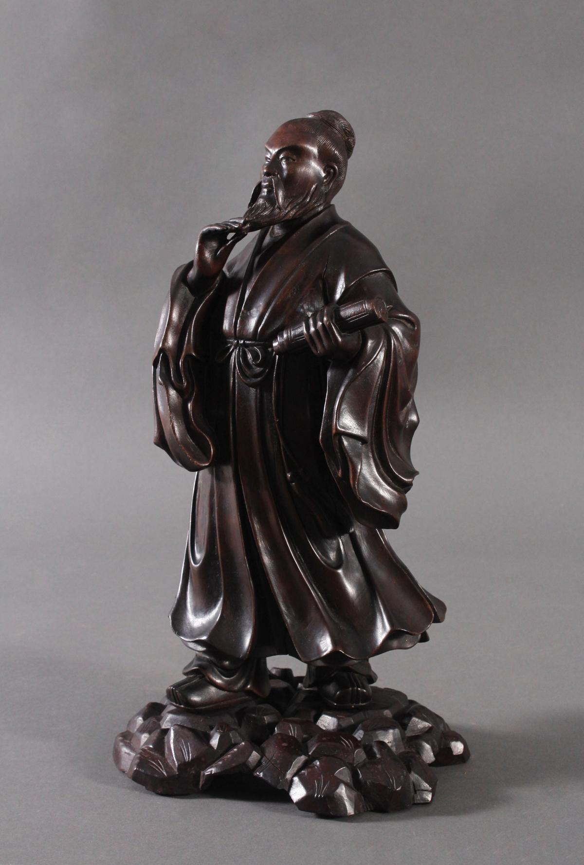 Chinesische Holzskulptur, 'Gelehrter', um 1880-4