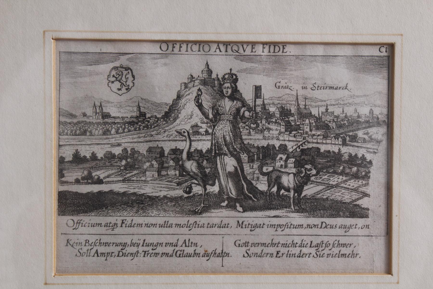 Graz. – Gesamtansicht mit Schlossberg. Kupferstich-2