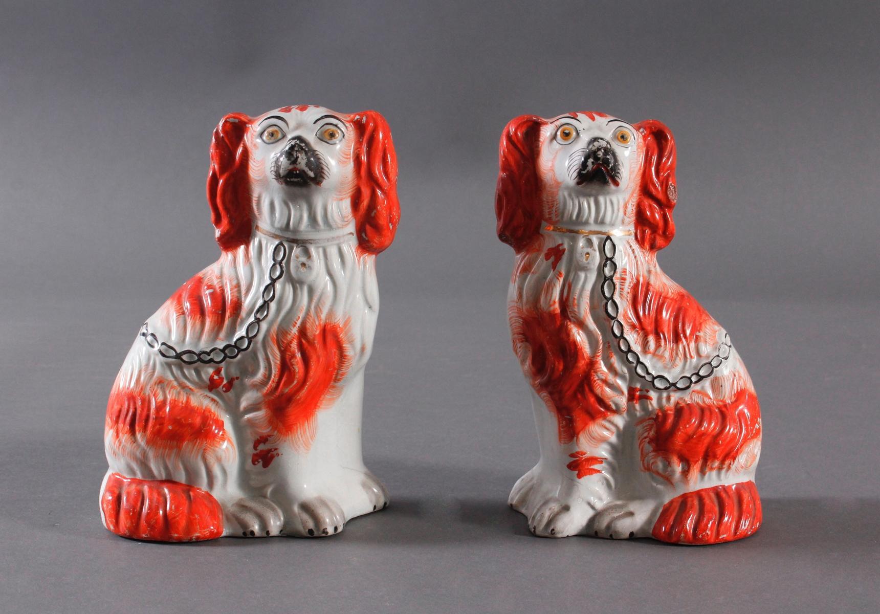 Kamin Hunde-Paar, Staffordshire Spaniels, England 19. Jahrhundert-2